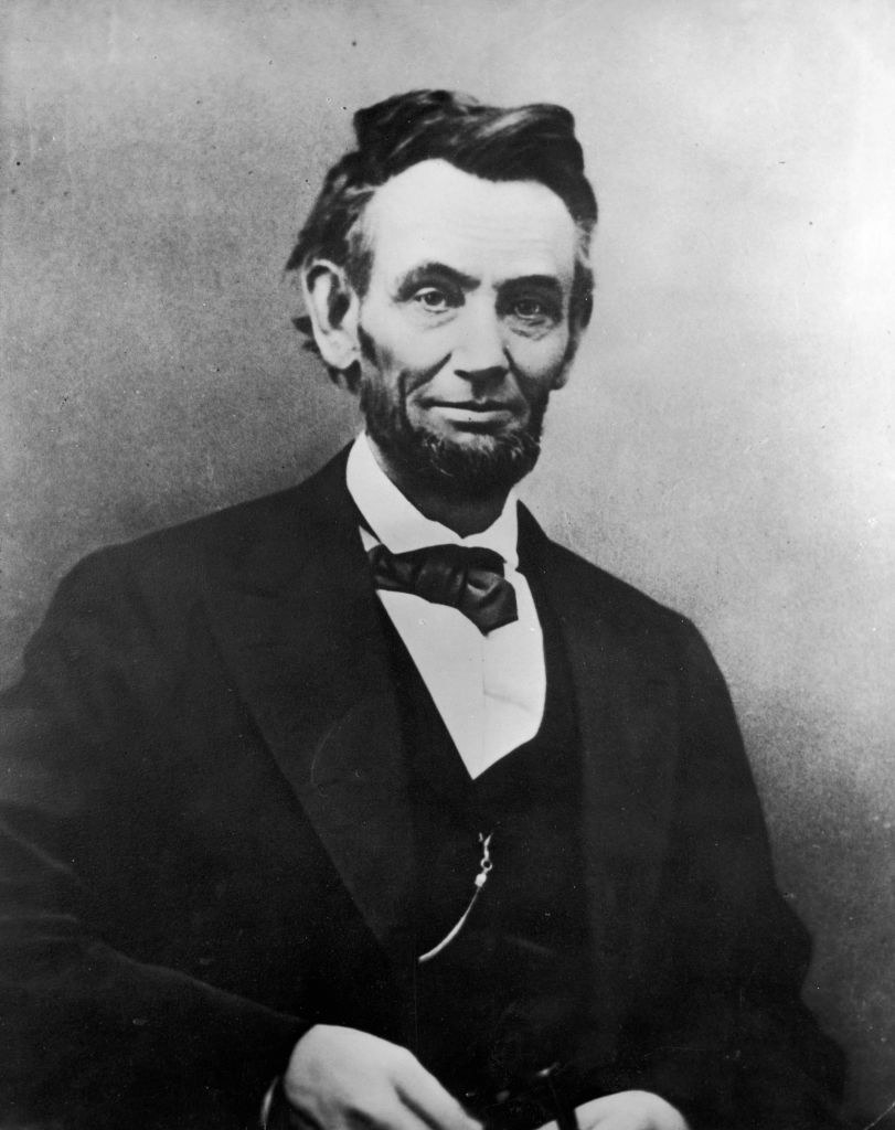 Abraham Lincoln posing for a portrait