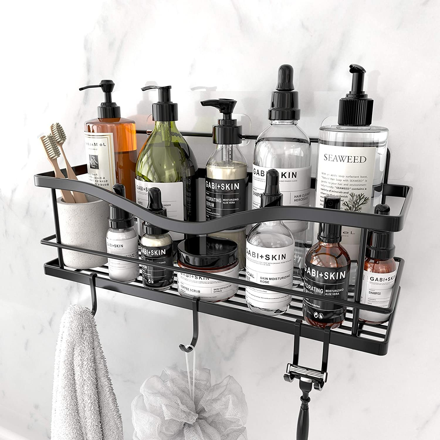 A stainless shower basket shelf with hooks
