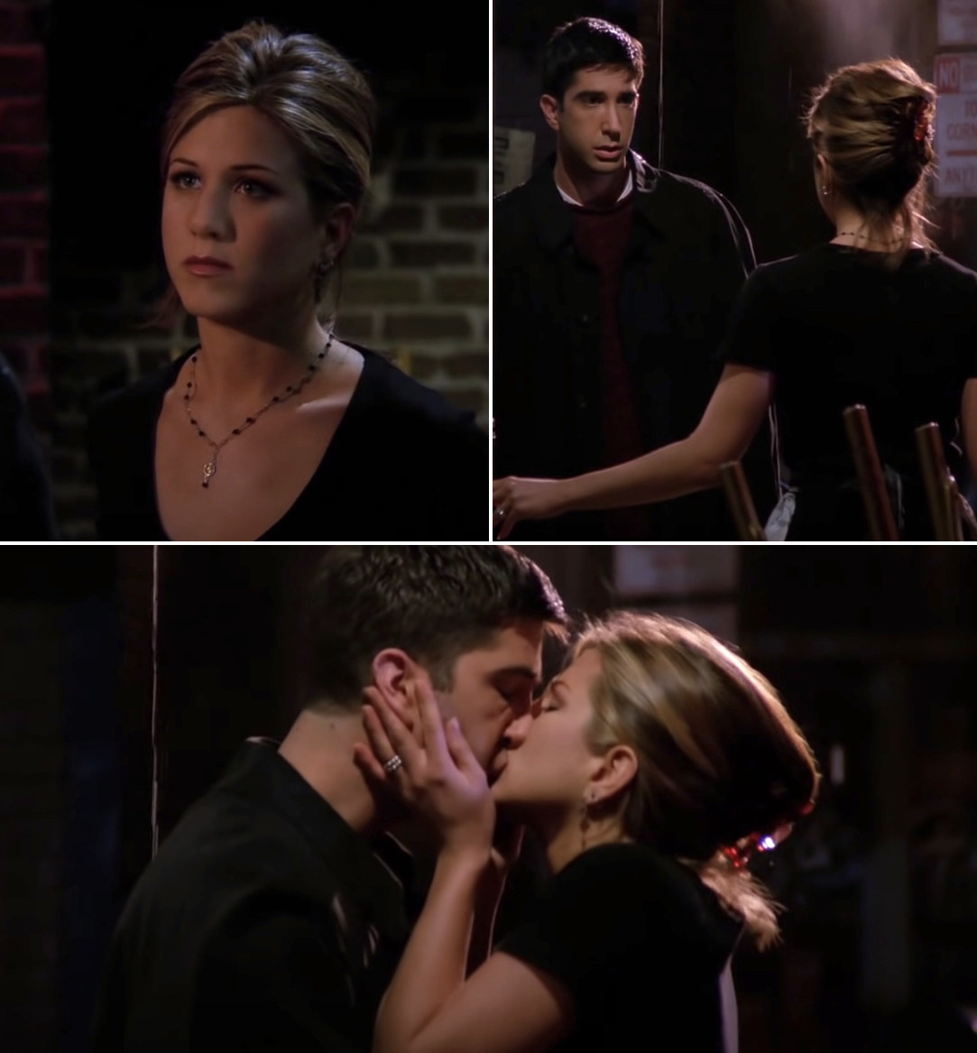 Ross and Rachel kissing at Central Perk