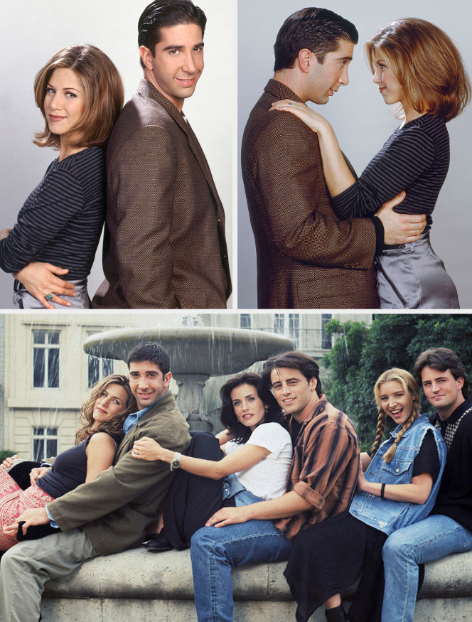 Jennifer Aniston and David Schwimmer posing together during Season 1/2 promo shoots, back to back, facing each other, and then one with the rest of the cast near the water fountain