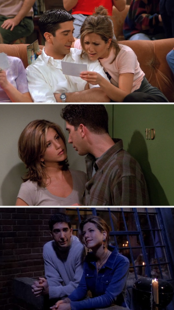 Ross looking at Rachel in the coffee house with love; Rachel looking at Ross in his apartment building hallway; Ross looking at Rachel on her balcony during the blackout