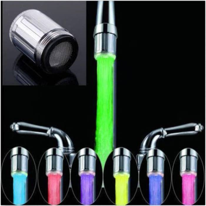 Various colours of LED lights, such as green, purple, blue, pink, etc., changing the colour of the water flowing from the tap.