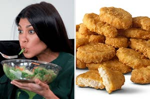 On the left, Kourtney Kardashian eating a salad, and on the right, some nuggets from McDonald's