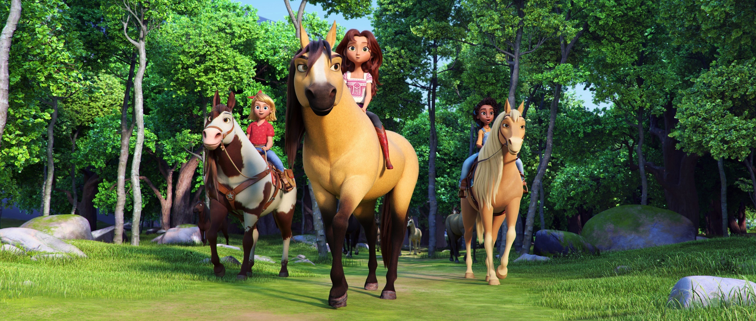 from left is an animation of mckenna grace, Isabela Merced, and Marsai Martin riding horses in the woods