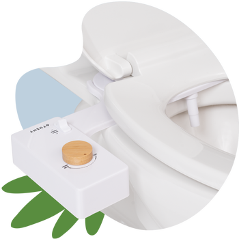 the white bidet with wood knob on a toilet, installed under the seat