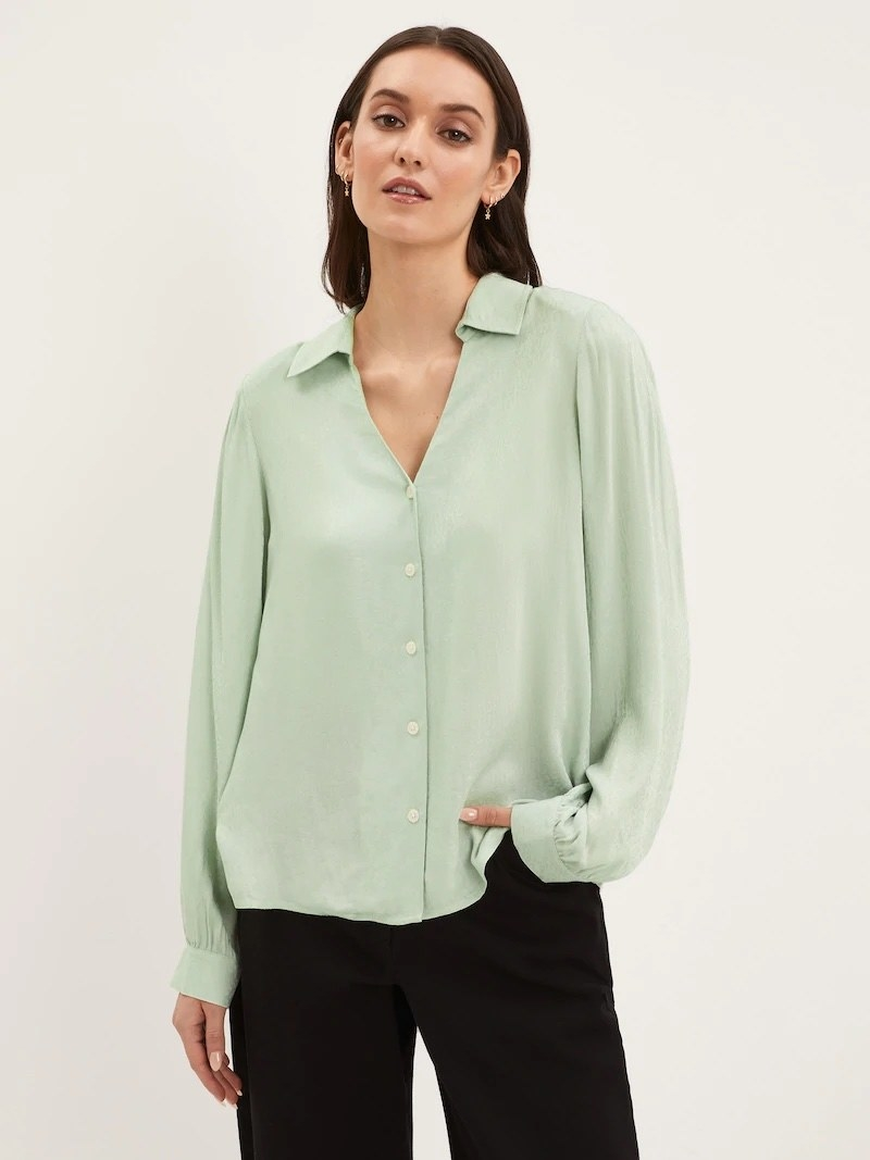 a model wearing the blouse