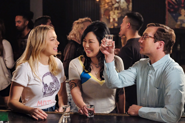 Iliza Shlesinger, Ryan Hansen and Margaret Cho at a bar