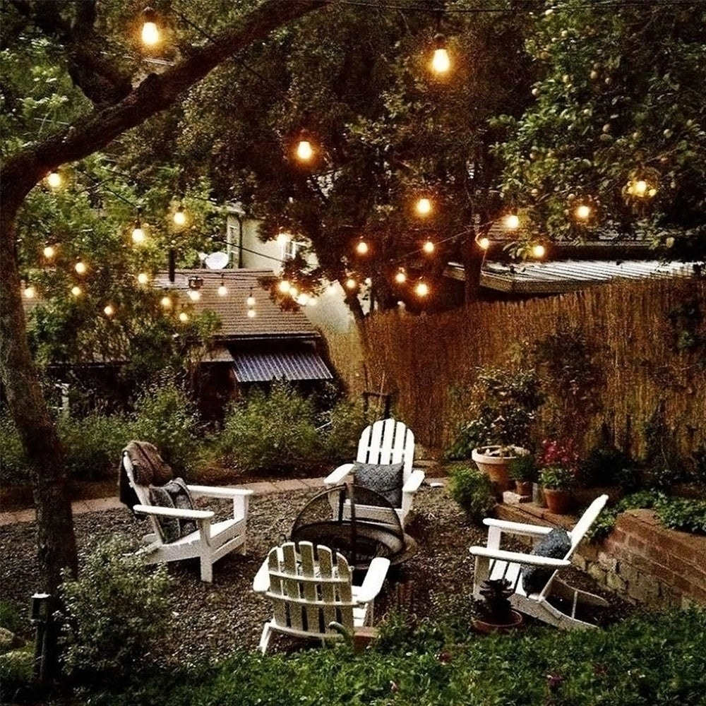 the lights in a backyard