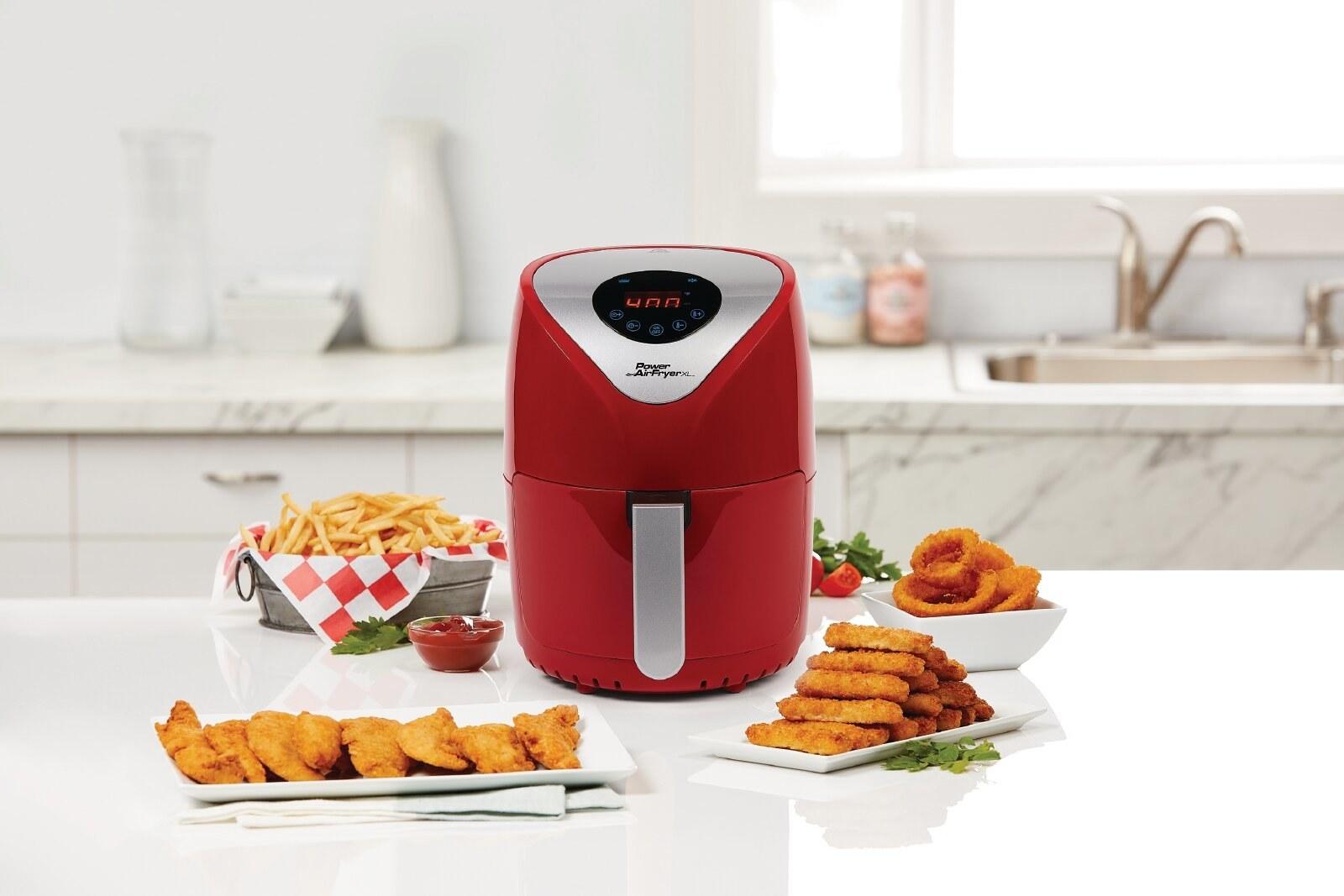 a red air fryer