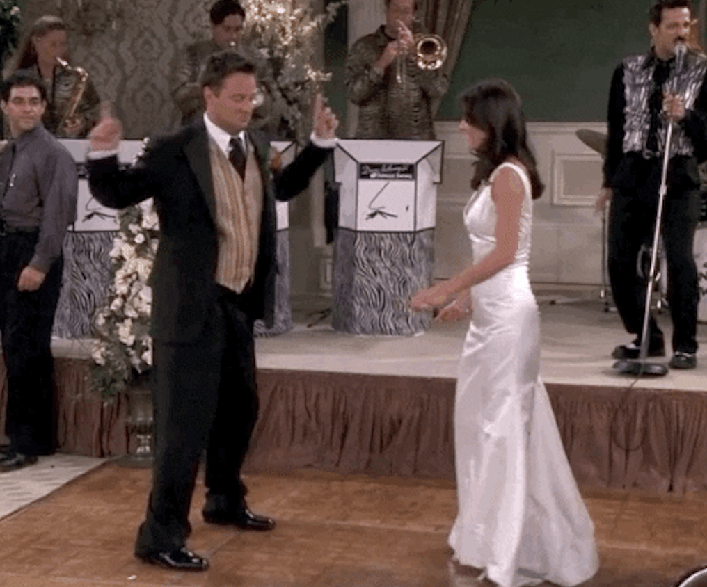 Chandler and Monica dancing at their wedding