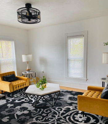 fan installed in reviewers modern living room