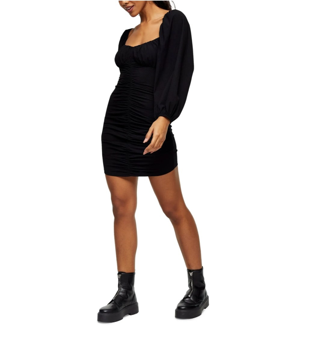 The ruched long sleeve black dress from TopShop