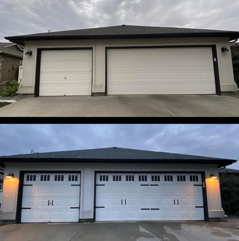 before/after of reviewer's garage with the magnets added to make it look like a new garage door