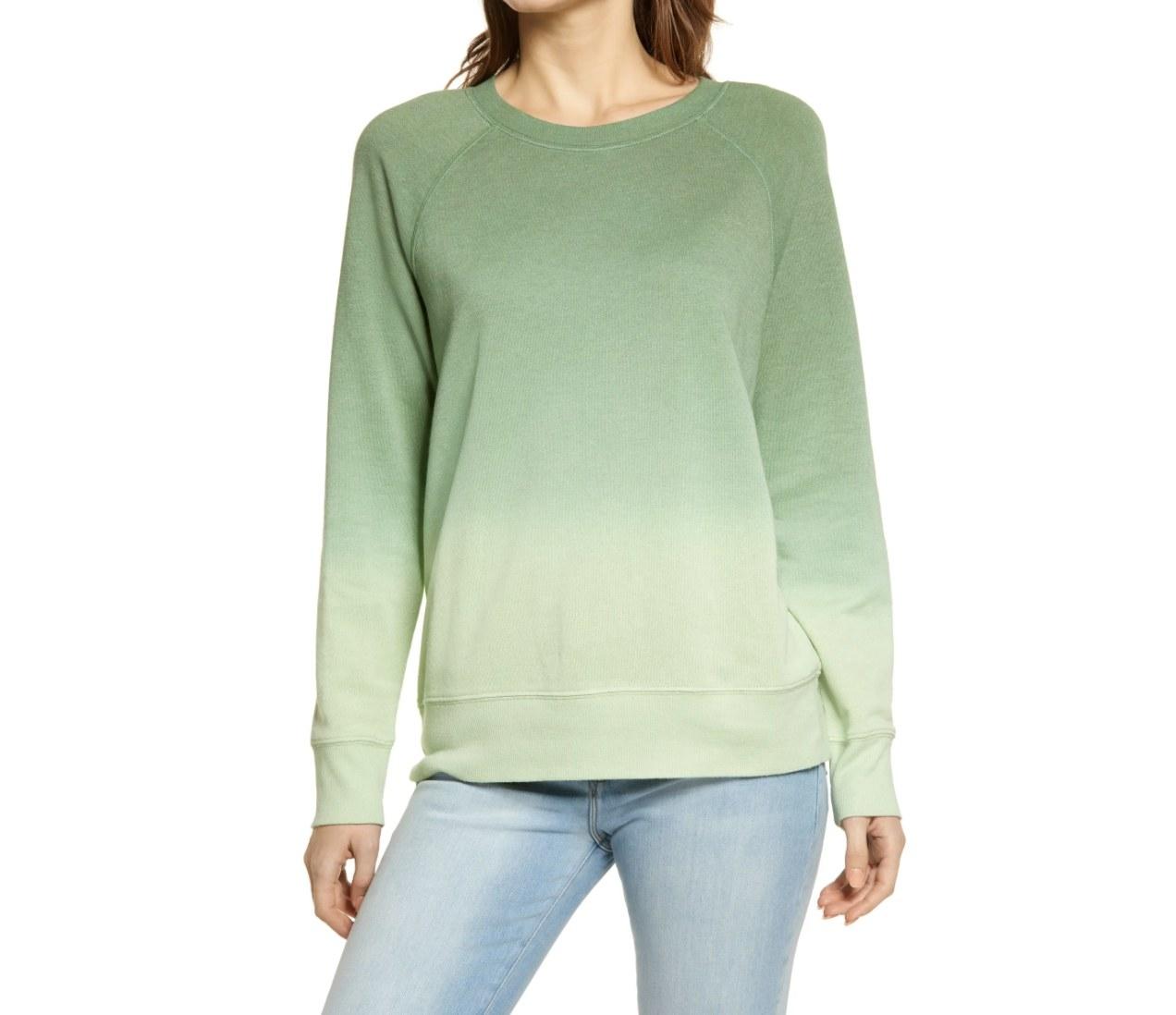 The dip dye sweatshirt in green ghost