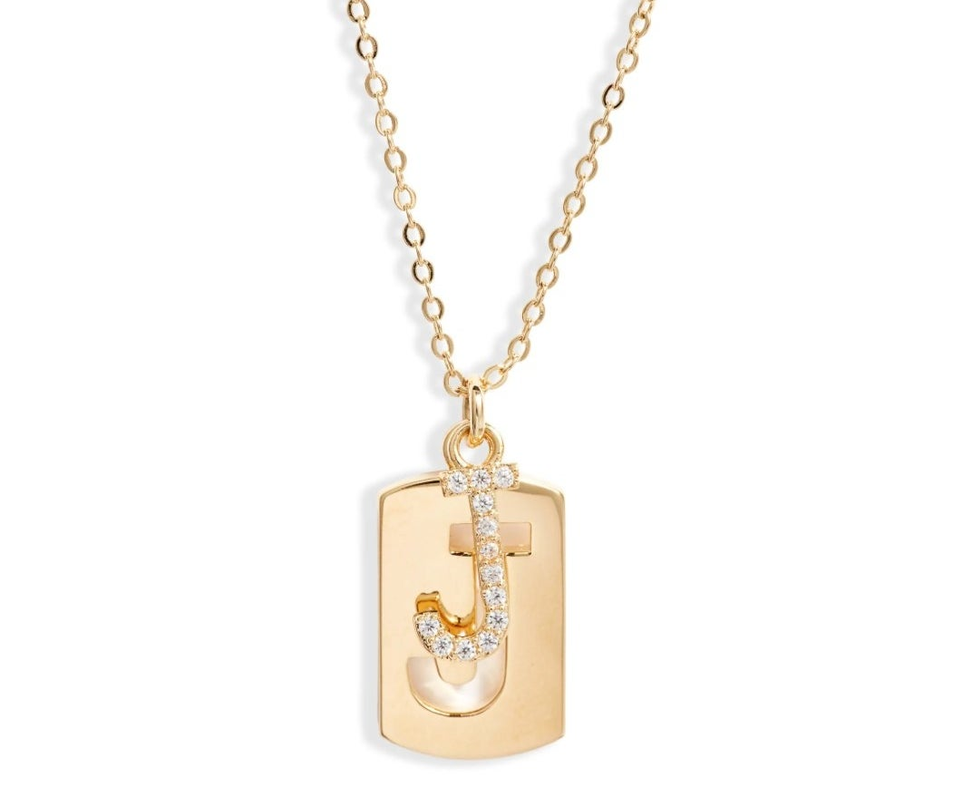 the initial dog tag pendant necklace in gold J