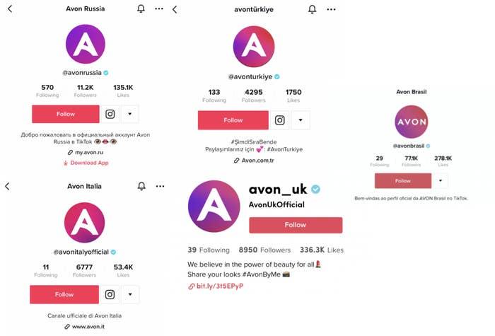 Verified TikTok accounts for the Avon brand