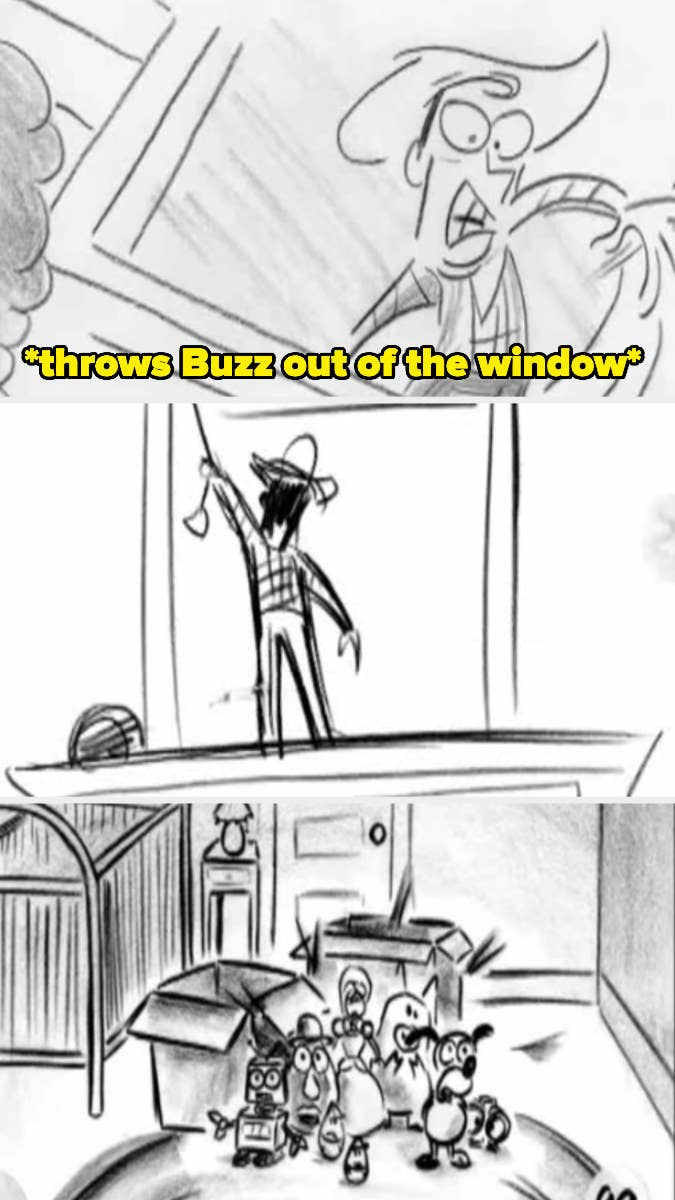 Woody throwing Buzz out the window in the original Black Friday reel