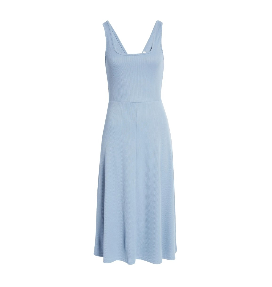 The A-line tank midi dress in blue stonewash