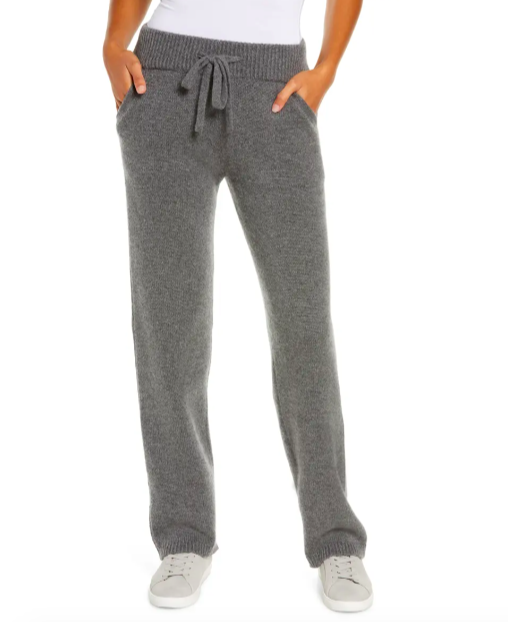 A model wearing the joggers in charcoal