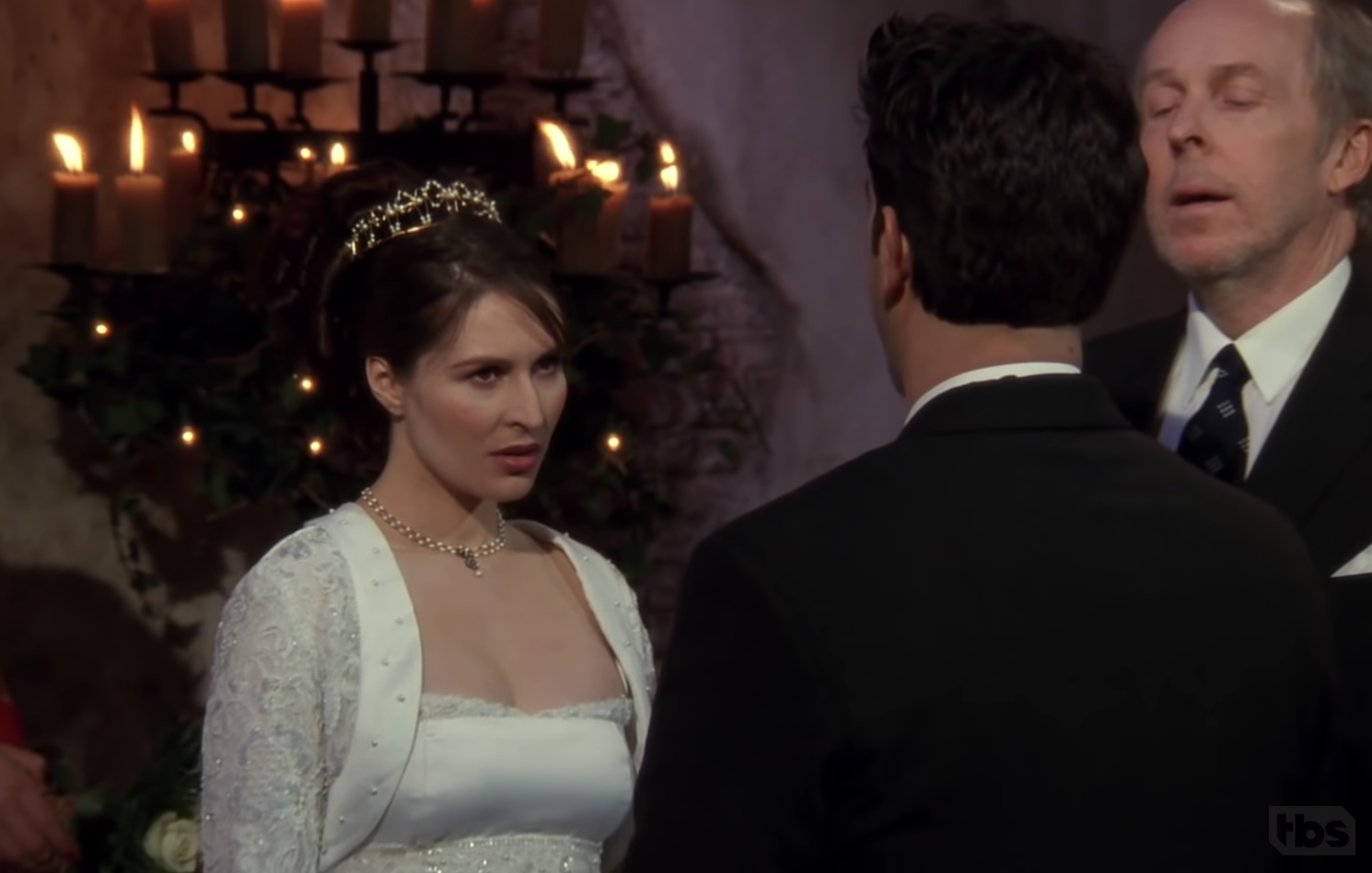 Angry Emily glaring at Ross at the alter of their wedding