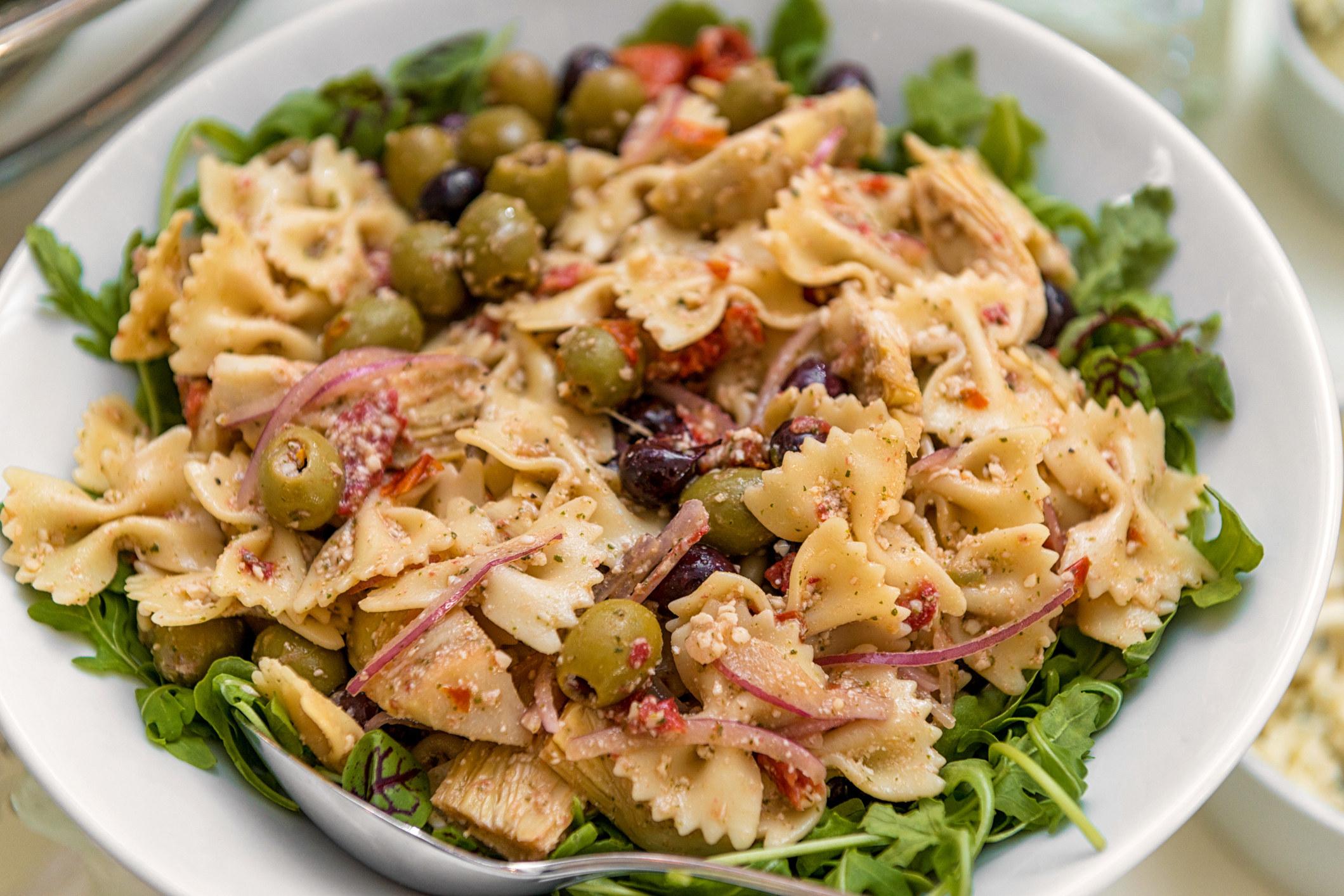 A big bowl of Italian pasta salad.