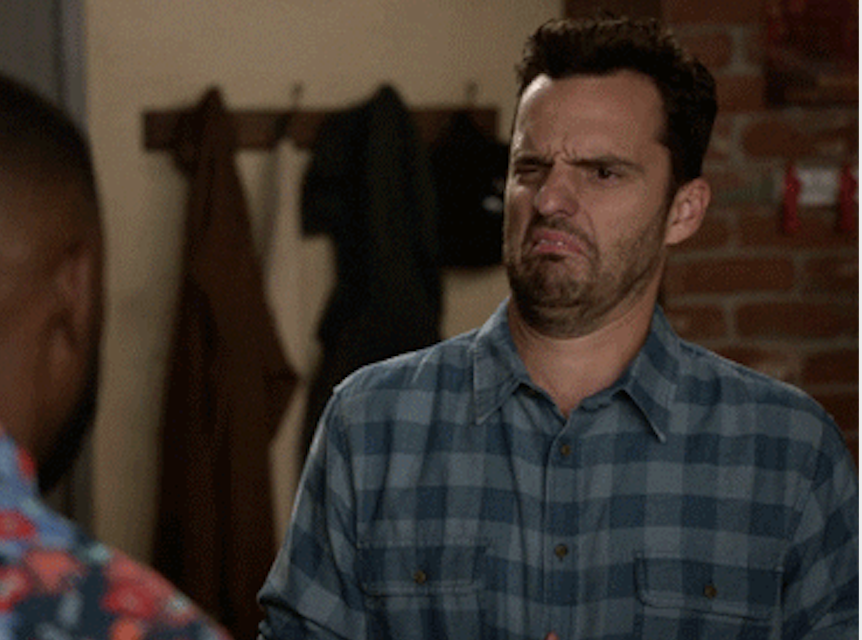 Grossed out Nick Miller