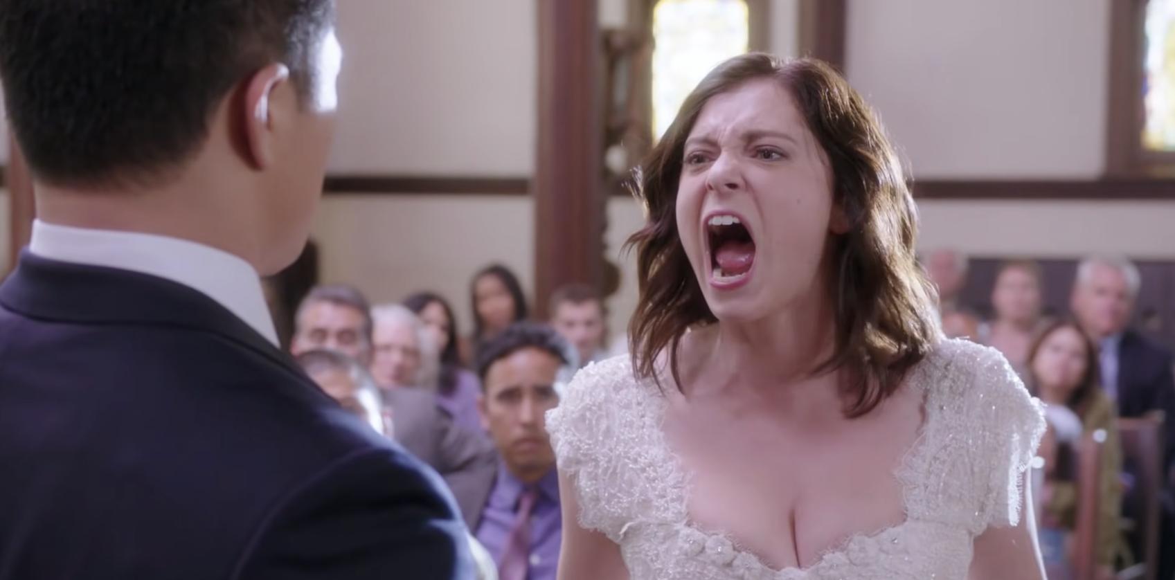 Rachel Bloom as an angry, screaming bride