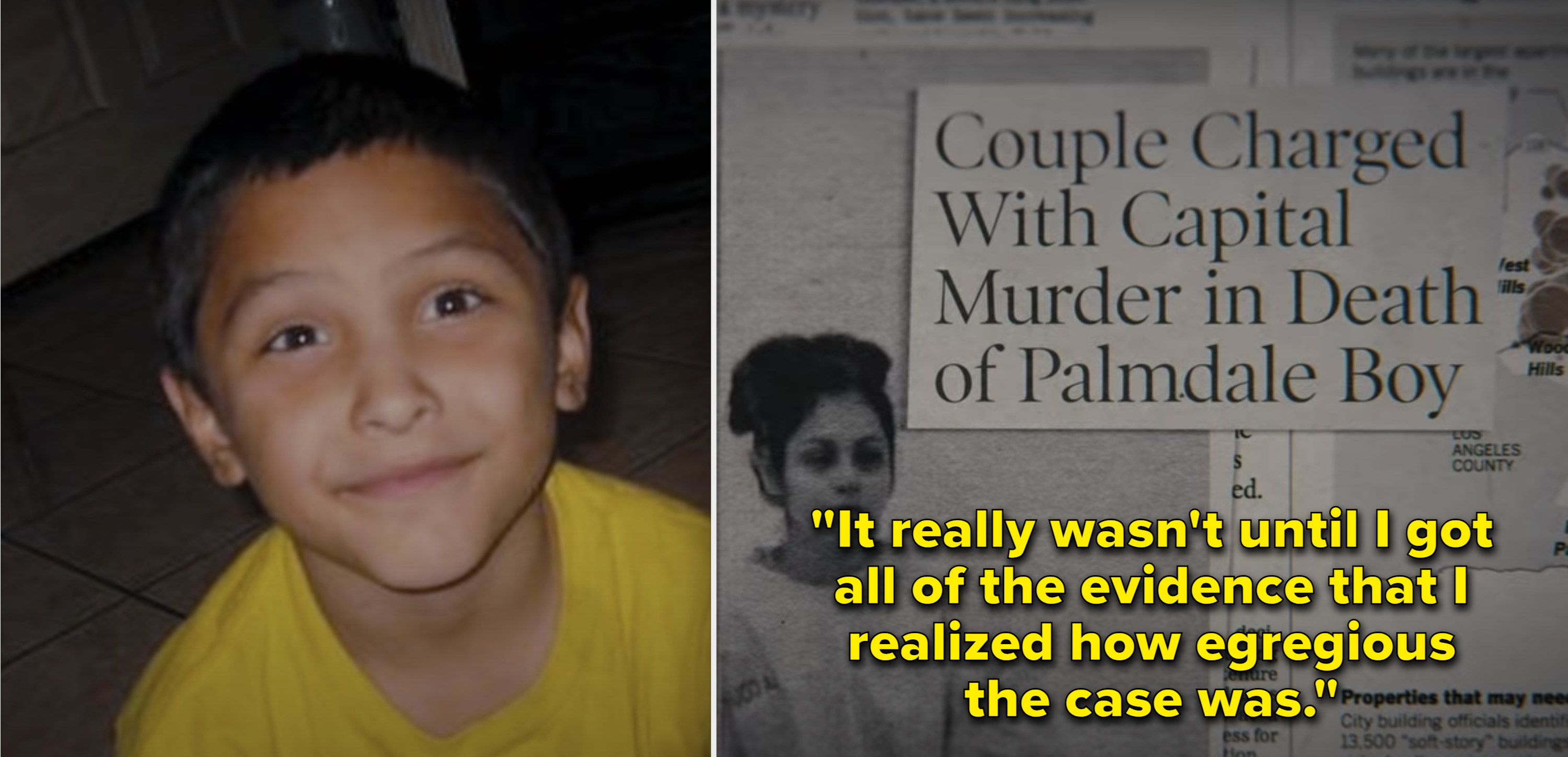 A photo of Gabriel Fernandez as a child, then a newspaper clipping with the headline about his parents murdering him