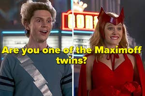 Pierto Maximoff, wearing a blue shirt with a lightening bolt with his hair in two spikes, looks excited while Wanda, wearing her original Scarlet witch costume and head dress, bites her lip while smiling.