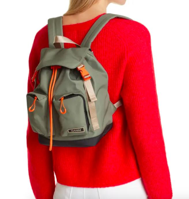 A model wearing the Ganni backpack