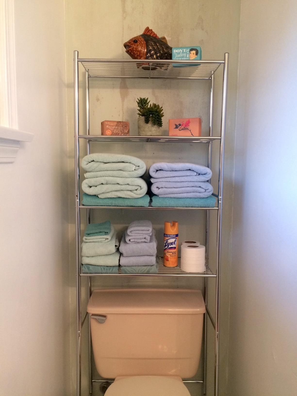 The unit with four shelves directly above a toilet