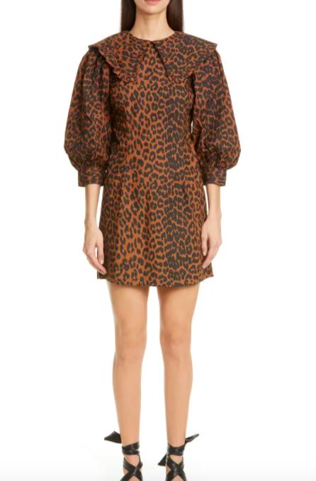 A model wearing the leopard print Ganni dress
