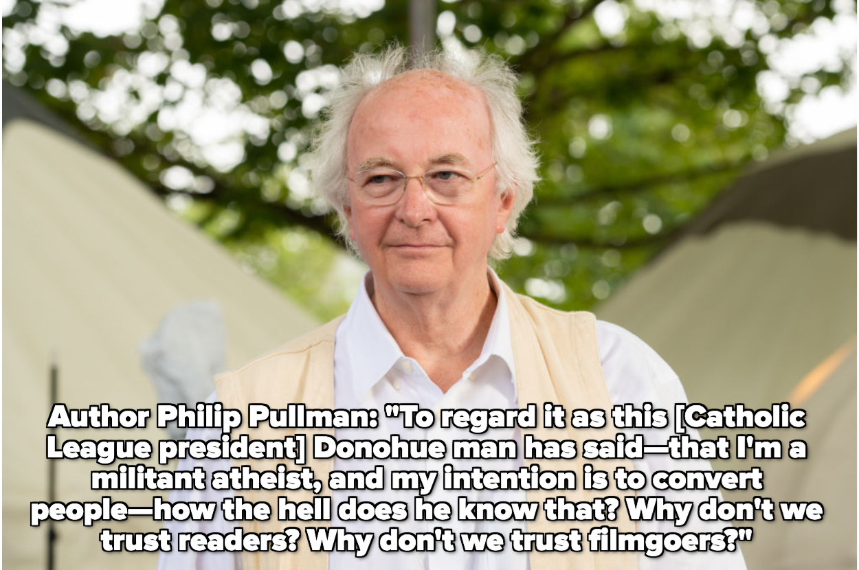 Philip Pullman protesting accusations that he's trying to convert people to atheism with The Golden Compass books