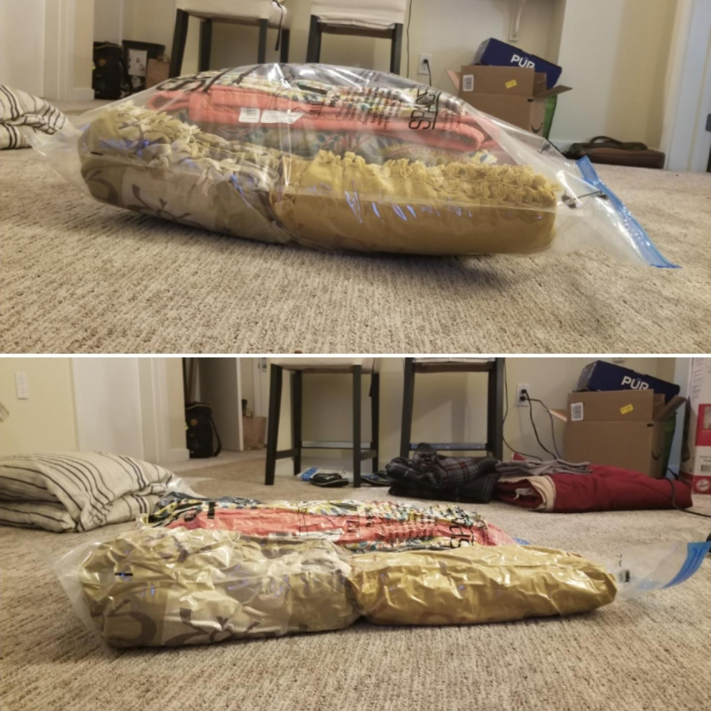 A split photo showing what a vacuum bag looks like before you suction the air out of it, and after