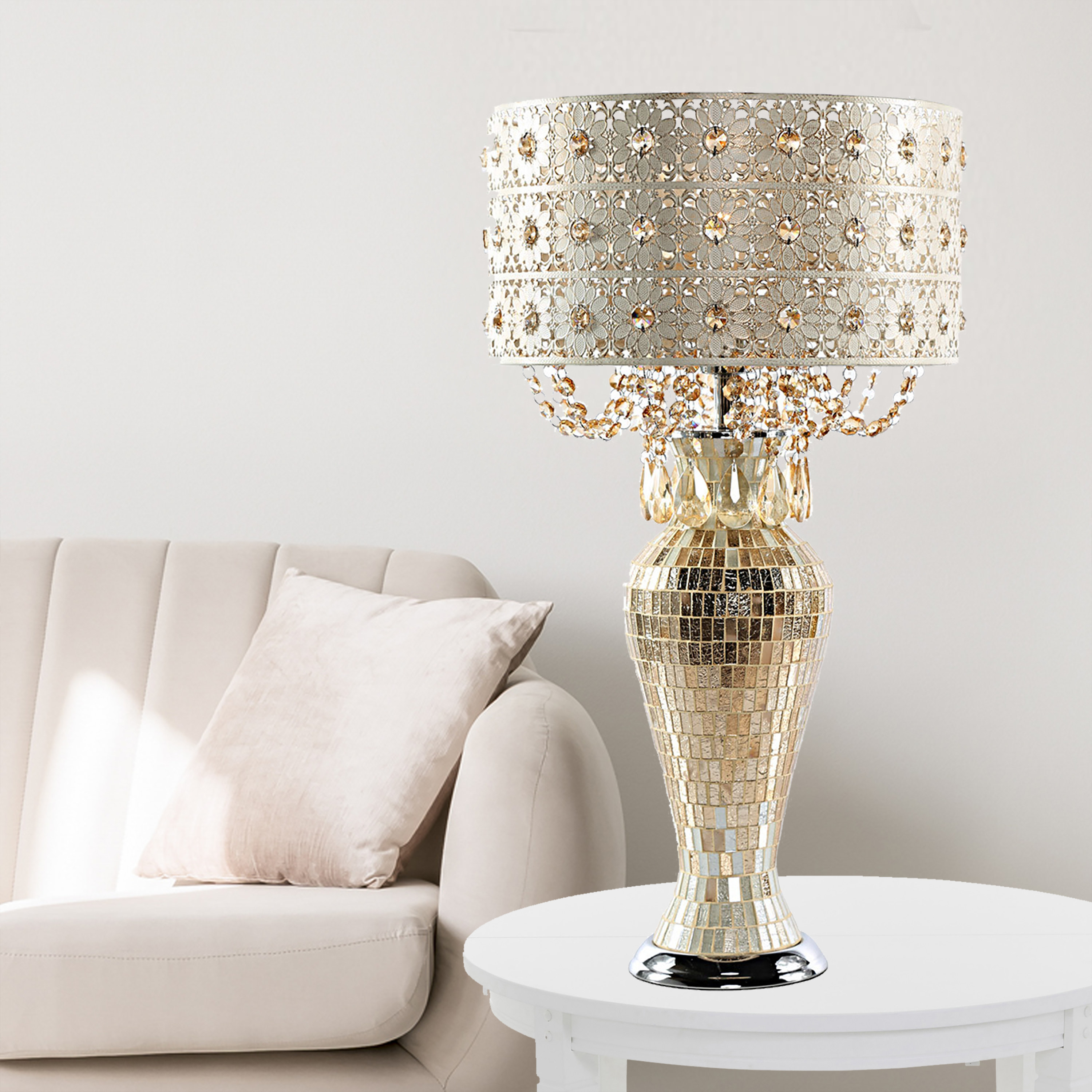 the gold lamp on a table
