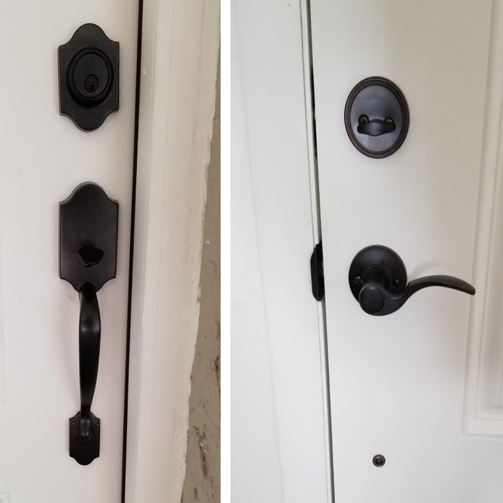 a reviewer image of two sides of a door installed with the black hardware