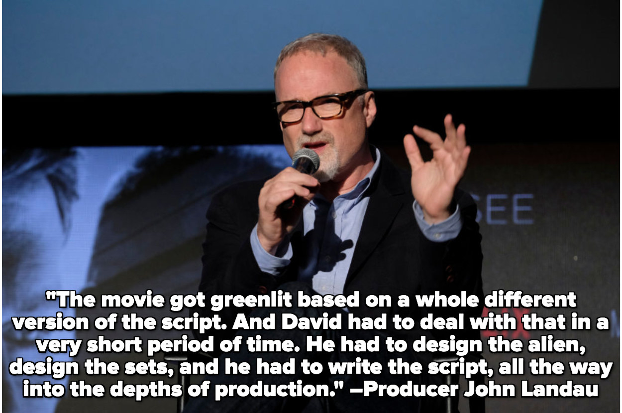 A picture of David Fincher, with a quote overlay about David Fincher struggling with Alien 3