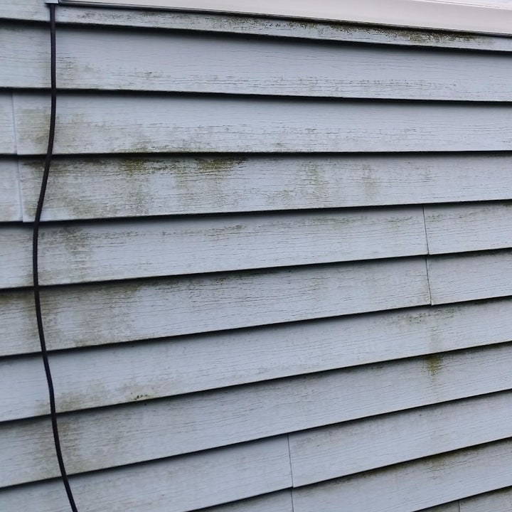 a reviewer photo of a house with dirty blue siding