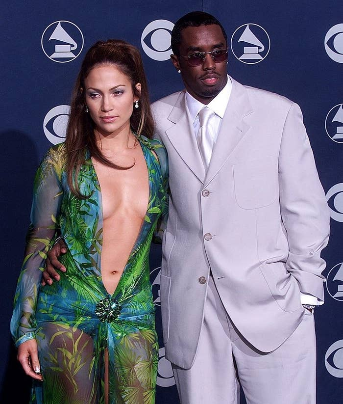 JLo and Diddy posing together on the Grammys red carpet when they were still dating