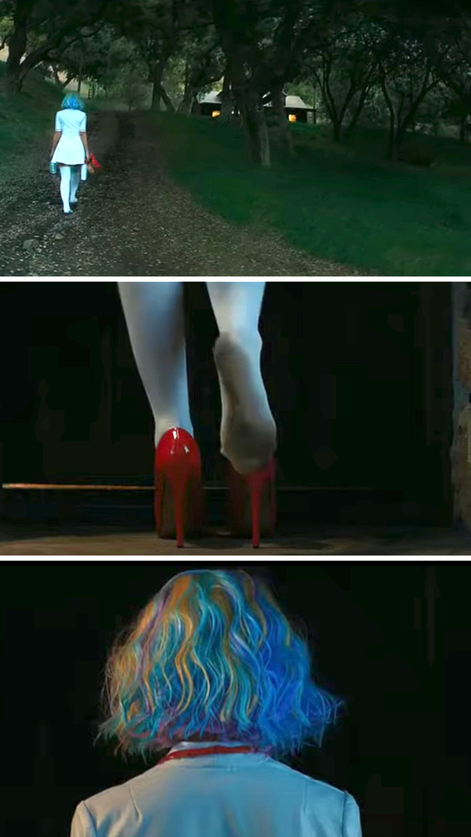 Cassie walks to Al's house in her nurse's costume and wig and puts on her red heels