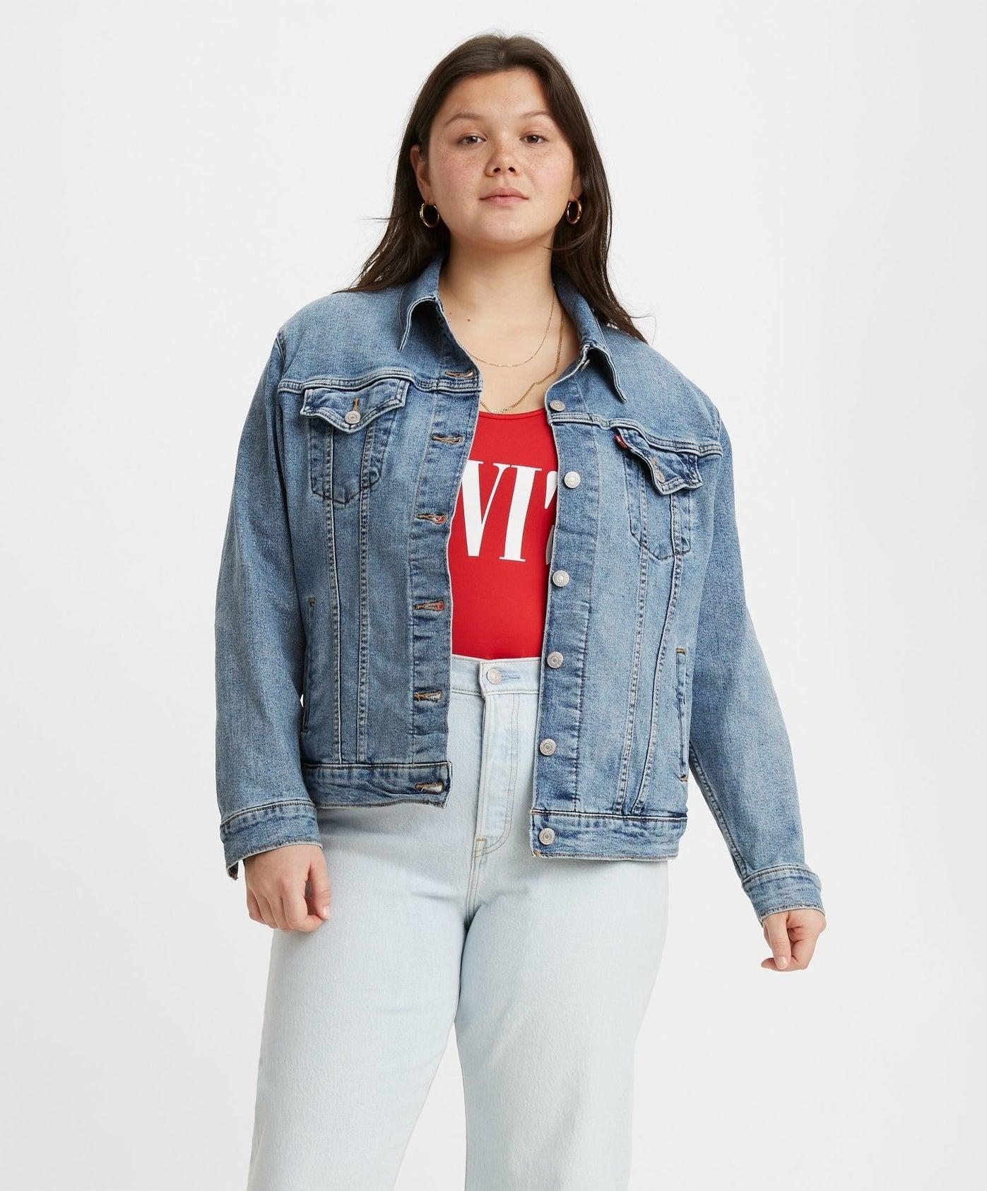 model in mid wash jean jacket