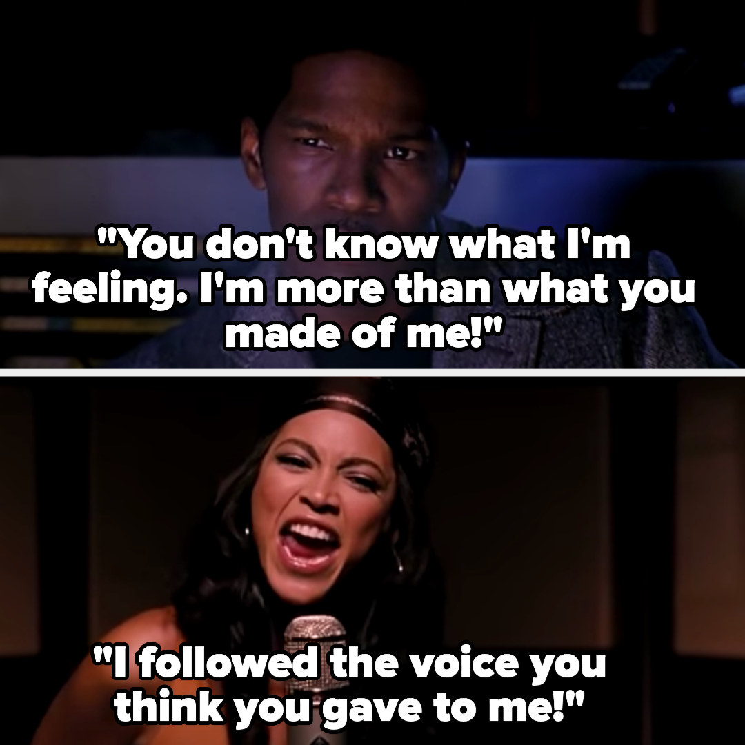 """Deena singing """"you don't know what I'm feeling. I'm more than what you made of me! I followed the voice you think you gave to me!"""" in the recording studio as Curtis watches"""