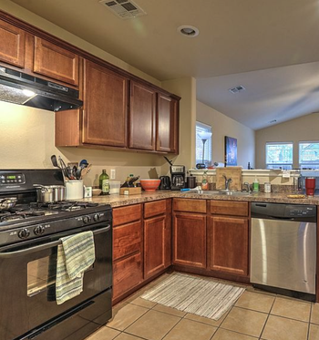 reviewer kitchen with dated cabinets