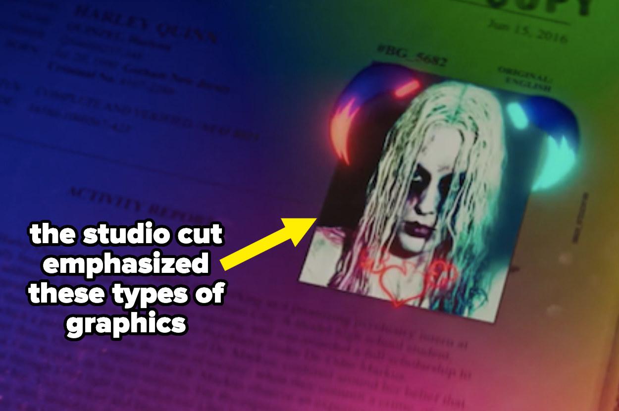 Harley Quinn's mugshot, edited in rainbow colors