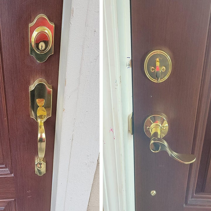 a reviewer image of two sides of a door installed with gold knob hardware