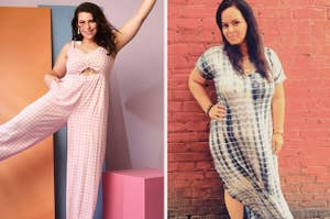 model in pink gingham jumpsuit and model in tie-dye maxi dress