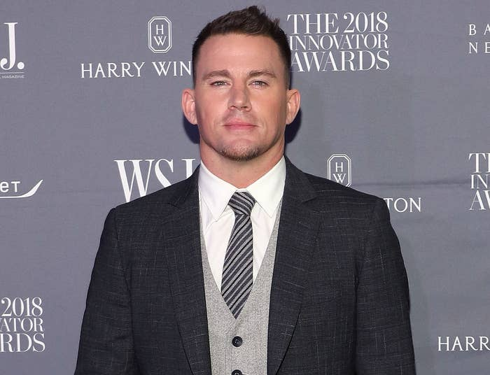 Channing wears a suit at an event