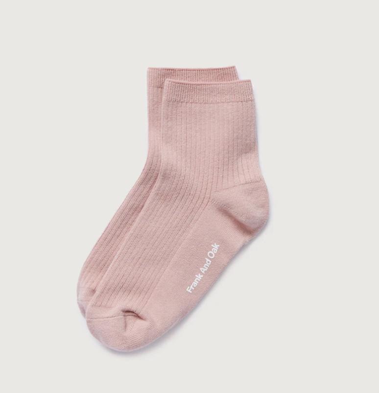 A pair of pink ribbed socks