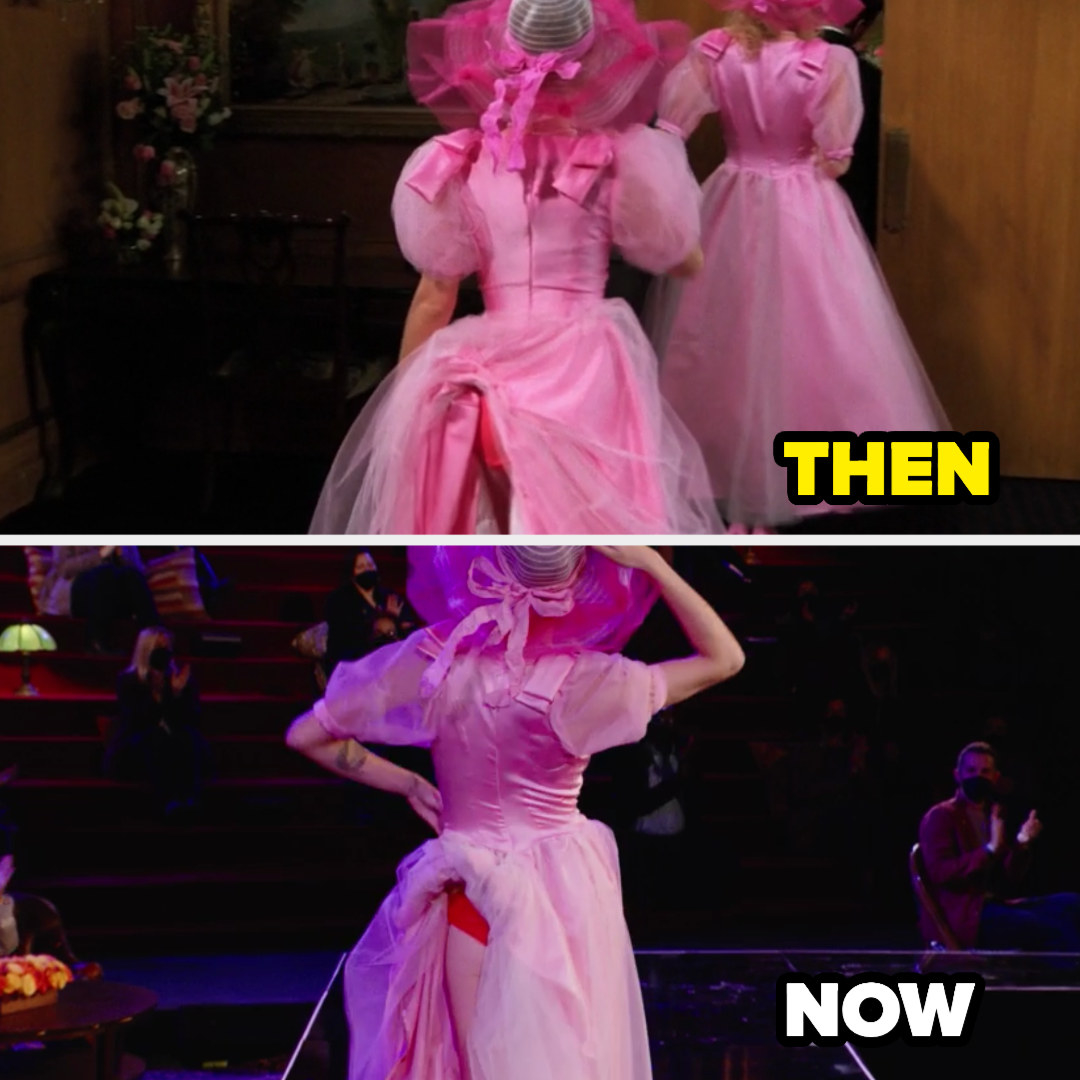 A then and now pic of Rachel's bridesmaid dress stuck in her underwear