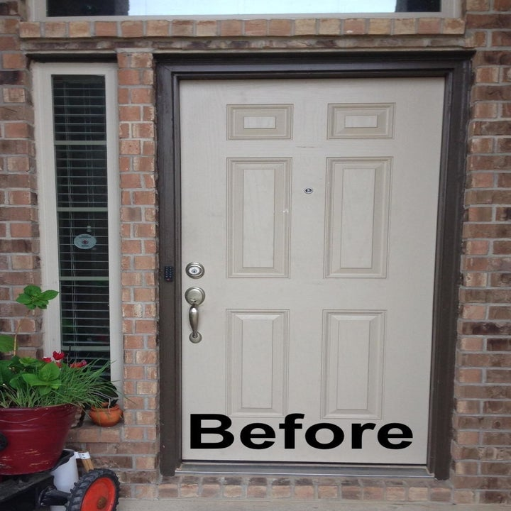 """a reviewer photo of a white front door with text reading """"before"""""""